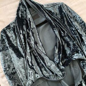 [Blanknyc] | Slate Blue Crushed Velvet Jacket XS